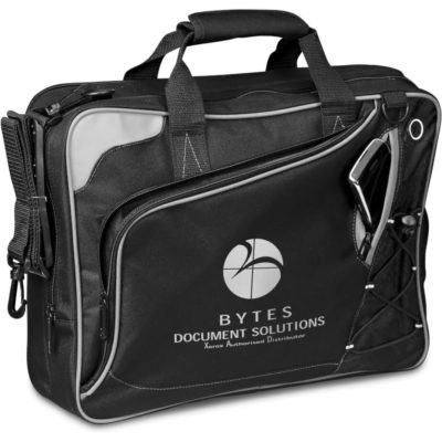 "The Bolt Compu-Brief Fits Most 15.6"" Laptops, Modern Trimmings. Main Zip Compartment, Unique Shaped Front Zippered Compartment, Small Pocket Slit For Phone, Earbud Outlet, Adjustable & Removable Shoulder Strap, Double Handles, Comfortable Handle Wrap."