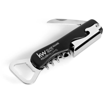 The Burgundy Waiters Friend is made from stainless steel & PP and has a knife, bottle opener, can opener as well as a corkscrew.
