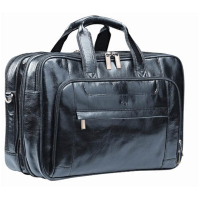 The Black Nevada Italian Leather Computer Bag Features Various Compartments With A Zip Opening.