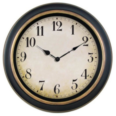 the Antique 40cm Wall Clock is a brown plastic wall clock with a large circulare display and antique style arms