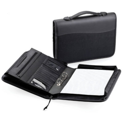 The A4 Ringbinder Folder with Handle is koskin folder with a carry handle and zippered closure.