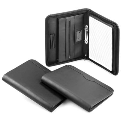 The A4 Favourite Zip Around Black carry folder in A4 size with area for writing pad, pen loop and a zip sleeve on the left side.