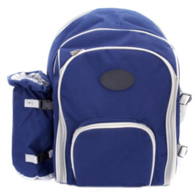 The Blue Picnic Backpack Is Made From 600D. The Backpack Includes Four Place Settings With Plates, Cutlery, Glasses, Napkins, Salt & Pepper Set, Cheese Board , Waiters Friend, Wine Cooler And Cooler Bag Compartment.