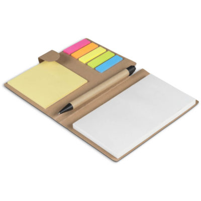 The Retrospect Memo Pad & Sticky Flags is a recycled paper folder that holds 125 flags of brightly coloured sticky notes, a small and large memo pad and a pen