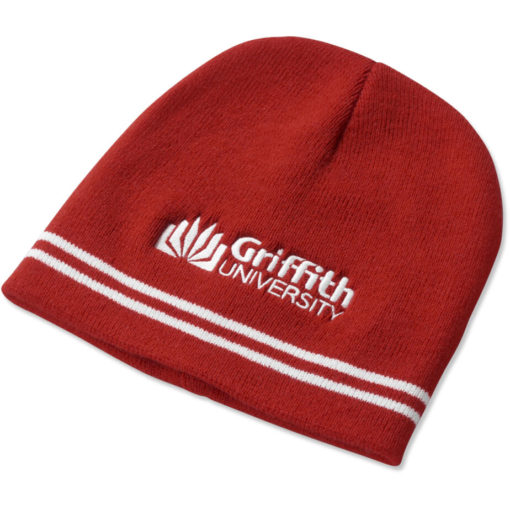 The Team Colours Beanie is made from an acrylic rib knit material in Red.