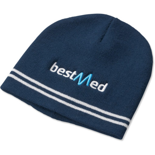 The Team Colours Beanie is made from an acrylic rib knit material in Navy.