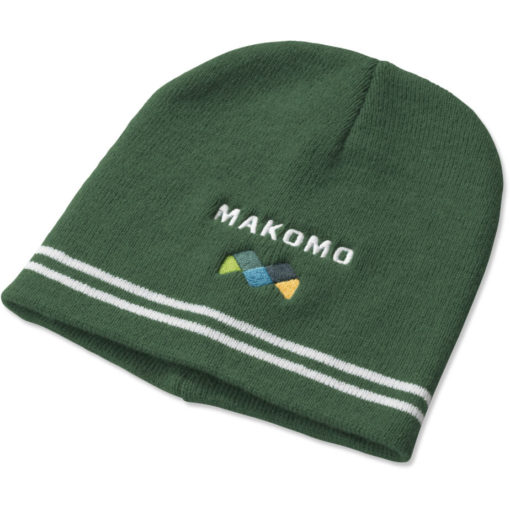 The Team Colours Beanie is made from an acrylic rib knit material in Green.