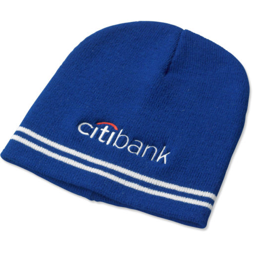 The Team Colours Beanie is made from an acrylic rib knit material in Blue.