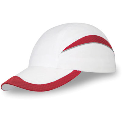 The Edge 6 Panel Cap in white with red mesh detail and trim