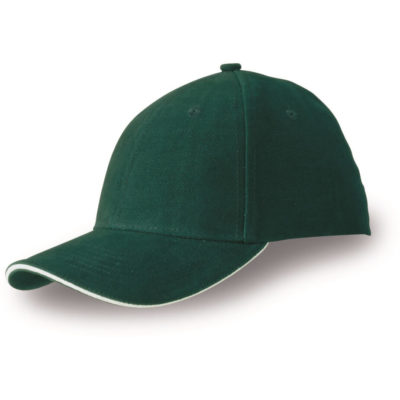 The Conquest Heavy Brushed Cotton 6 Panel Cap in green made from heavy cotton and khaki colour trim