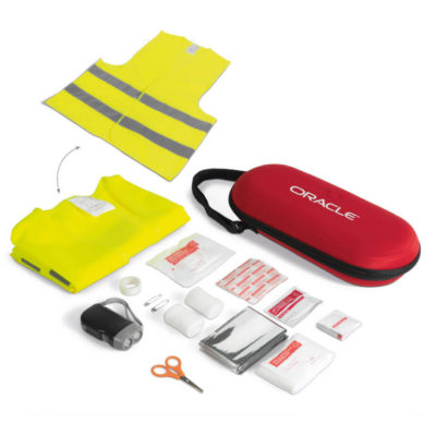 The Crisis First Aid Kit Contains A Triangle Bandage, Scissors, Paper Tape, 2 Wet Wipes, 8 Alcohol Pads, 2 Pins, 2 Cleansing Wipes, 2 Non-Woven Sponges, 2 Bandages, 15 Plasters, 10 Gauze Sponges, A Dynamo Torch And A Polyester Reflective Safety Vest In A Hard-Shell Case.