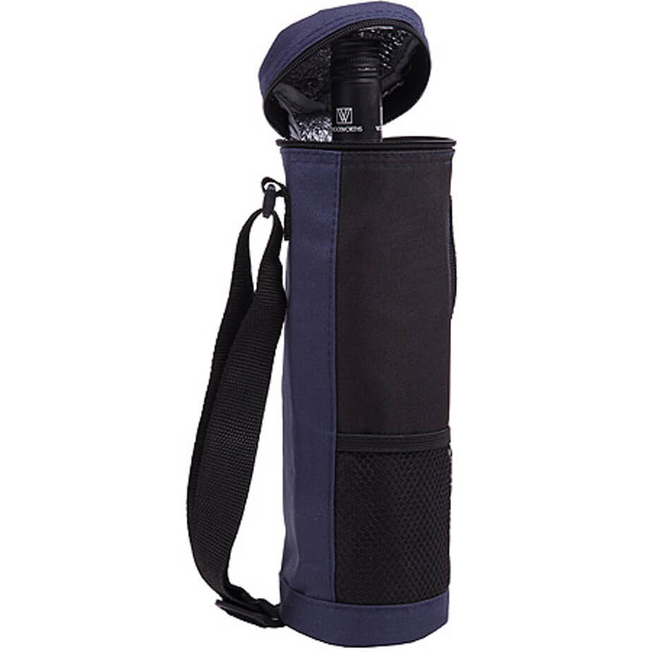 The Wine Cooler is a navy 600D polyester cooler bag in a tube shape to store a wine bottle, with a main zippered compartment, front mesh pouch and a black adjustable shoulder strap
