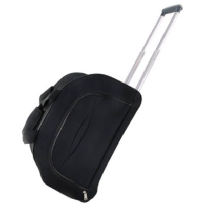 The Crescent Trolley Bag is a blqack 600D travel bag. With a main zip compartment, front zip pocket, top handle and side handle for easy carrying. Includes an extendable handle and wheels for easy movement