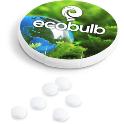 The Refreshmints is a round plastic container with flip open pocket to dispense peppermint flavoured sugar-free mints