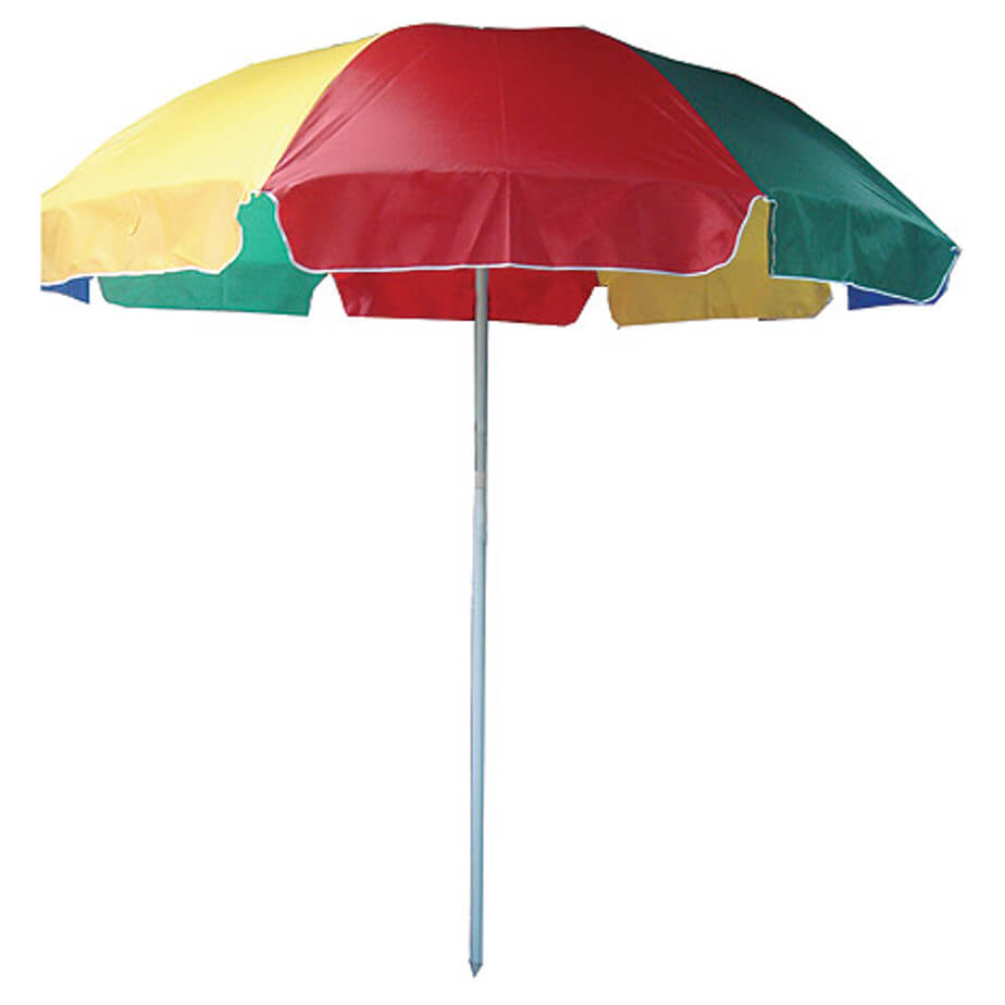 The Multicolour Beach Umbrella Is Made From 210T Polyester And A Metal Shaft.