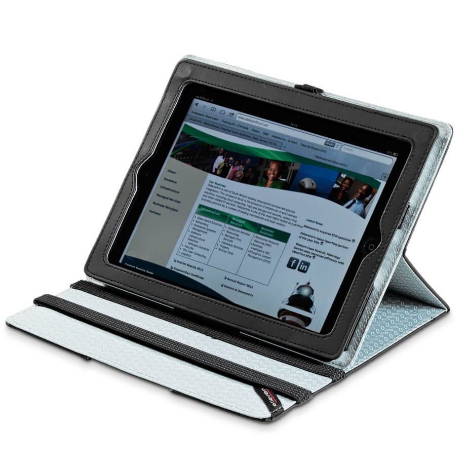 The Elleven Optic Tablet Holder And Stand Is Made From Scuba And 210D. The Tablet And Holder Is Great For Travelling, It Fits An iPad 2,3 And 4 Including A Pen Loop.