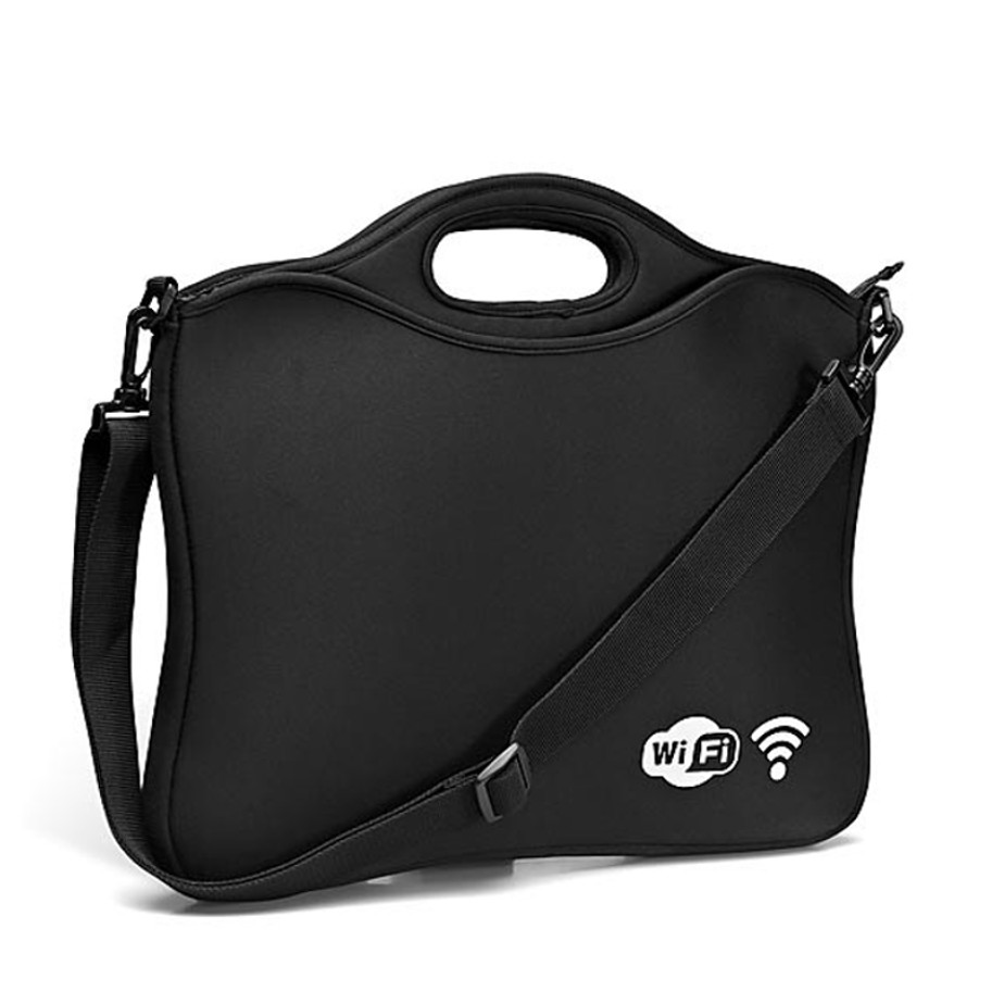 The Supernova Laptop Sleeve is made from imitation neoprene material and fits a laptop size of 15.6""