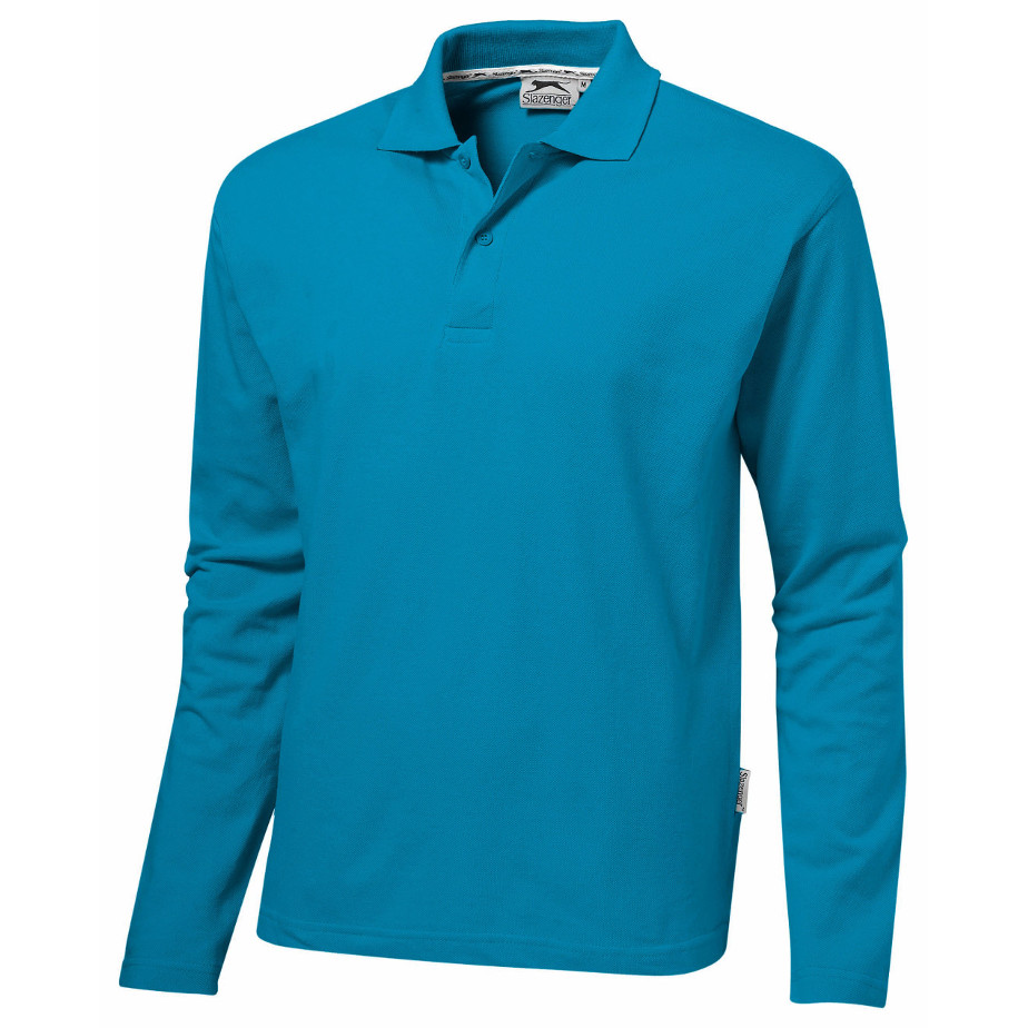 The Aqua Zenith Mens Long Sleeve Golf Shirt Includes A Flat Knit Rib Collar, Two Button Placket, And Tone One Tone Logo Buttons.