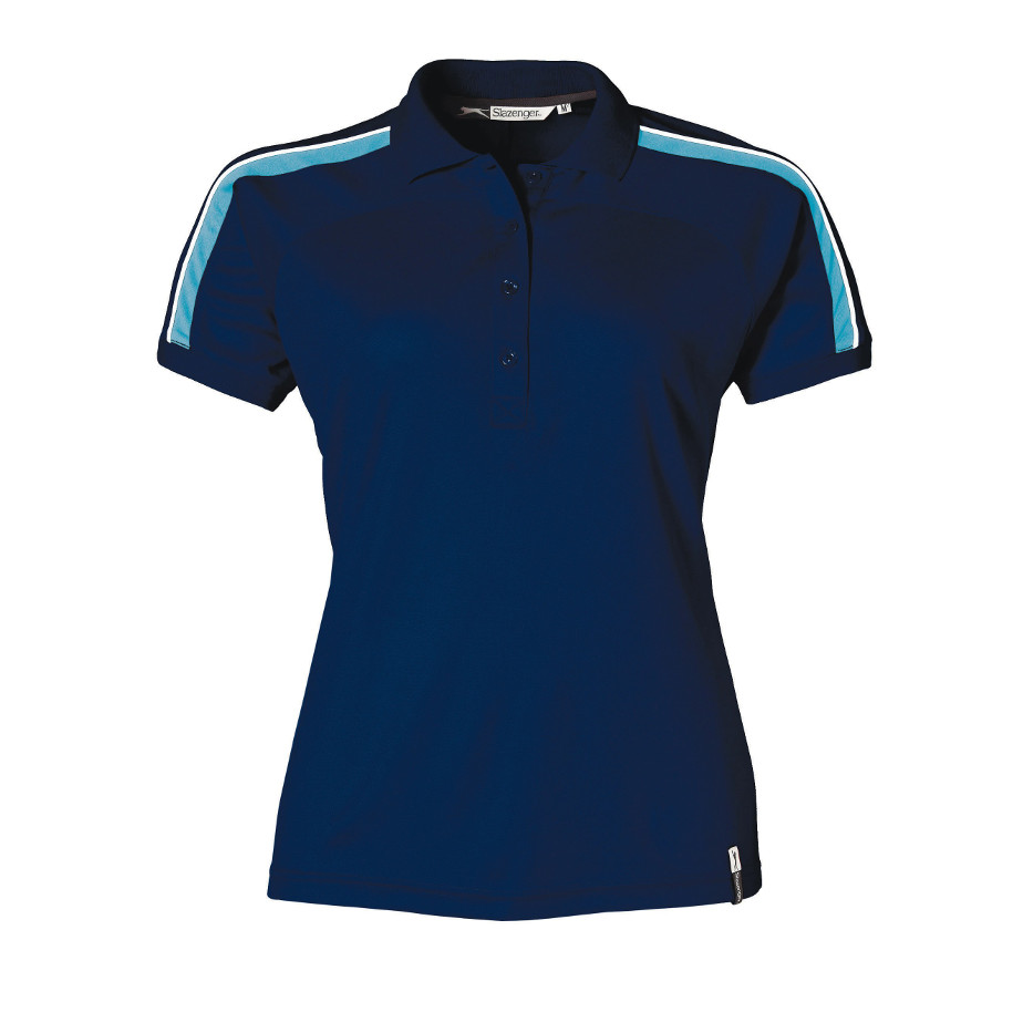 The Navy Trinity Ladies Golf Shirt Is Made From 100% Polyester. The Shirt Includes A Rib Knit Collar And Cuffs, Contrast Colour Neck Tape, Button Placket And Contrast Sleeve Panels With Piping.