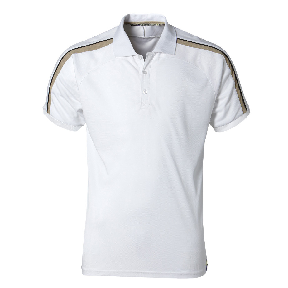 The White Trinity Mens Golf Shirt Is Made From 100% Polyester. The Shirt Includes A Rib Knit Collar And Cuffs, Contrast Colour Neck Tape,Three Button Placket And Contrast Sleeve Panels With Piping.