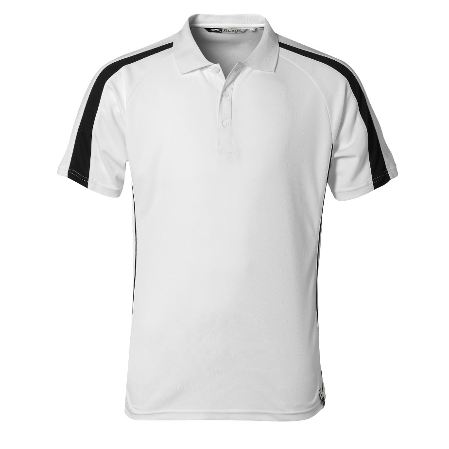 The White Horizon Mens Golf Shirt Is Made From 100% Cool Fit Pique Knit Polyester. The T-Shirt Has A Rib Knit Collar, Self Fabric Neck Tape, Three Button Placket,Contrast Sleeve Panel And Contrast Body Piping.