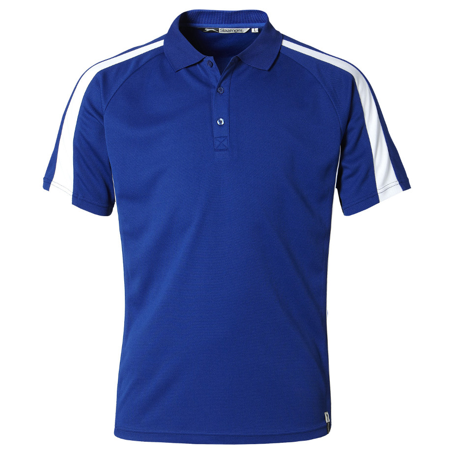 The Royal Blue Horizon Mens Golf Shirt Is Made From 100% Cool Fit Pique Knit Polyester. The T-Shirt Has A Rib Knit Collar, Self Fabric Neck Tape, Three Button Placket,Contrast Sleeve Panel And Contrast Body Piping.