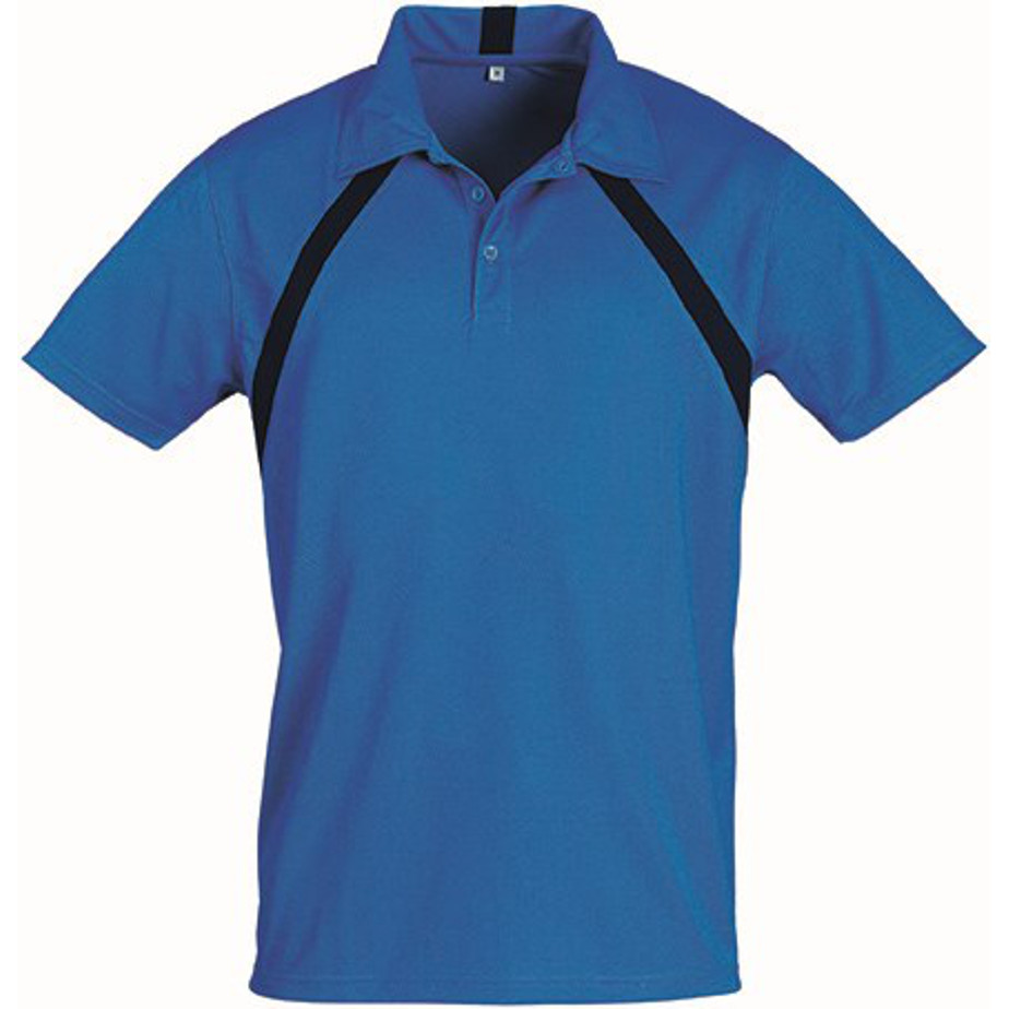 Blue Jebel Mens Golf Shirt Is Made From 100% Cool Ft Pique Knit Polyester.
