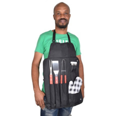 The Wooden Braai Set Apron includes a black 600D fabric apron with multiple storage pouches to hold the braai kit. Contains a stainless steel spatula, tongs, and braai fork with a wooden handles, a mitt and stainless steel salt and pepper set.