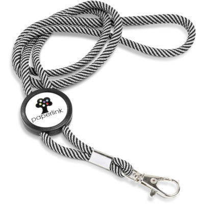 The Candystripe Lanyard is a funky polyester lanyard, with a space for a dome sticker design.