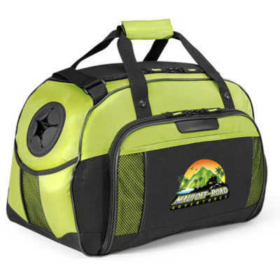 The lime Alabama Sports Bag features a front zippered compartment, molded side water bottle pocket and an adjustable shoulder strap