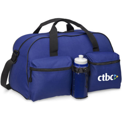 The Columbia Sports Bag is a blue 600D fabric tog bag with a main zippered compartment, two front zippered compartment, separated by a mesh water pocket, black adjustable shoulder straps and top carry handles