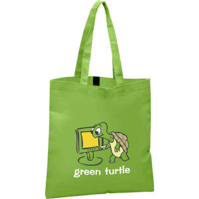 The Carnival Shopper is a lime green 80gsm non-woven fabric tote bag with a velcro closure, one main compartment and lengthy shoulder straps. Foldable and reusable