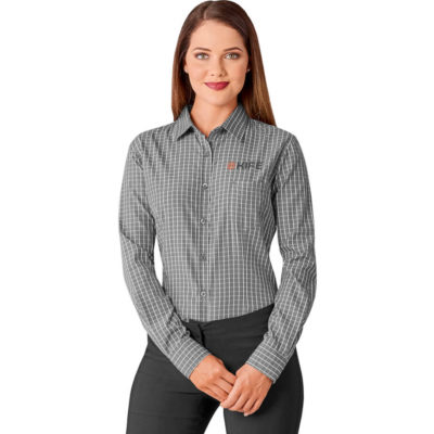 The Grey Aston Ladies Long Sleeve Shirt Has Two Button Cuffs, Left Chest Pocket, Curved Hemline And Bold Check Pattern.
