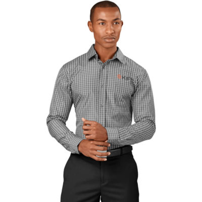 The Grey Aston Mens Long Sleeve Shirt Has Single Button Adjustable Cuffs, Single Button Sleeve Plackets, Tone On Ton Buttons, Left Chest Pocket, Back Shoulder Pleats And Bold Check Pattern.