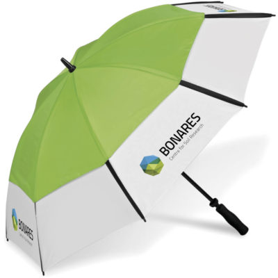 The Royalty Golf Umbrella is a lime and white 8 panel 190T nylon umbrella with a black fibreglass shaft, wind resistant qulaities and a comfortable foam handle. Includes a matching colour 190T nylon pouch with carry strap