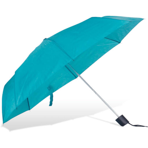 The ST-20 Mini Umbrella is a turquoise polyester 8 panel umbrella with a plastic knob like handle and a wristband for a more secure hold