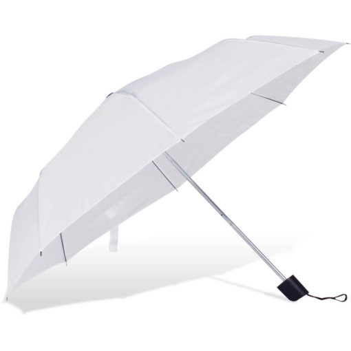 The ST-20 Mini Umbrella is a white polyester 8 panel umbrella with a plastic knob like handle and a wristband for a more secure hold