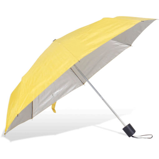 The ST-20 Mini Umbrella is a yellow polyester 8 panel umbrella with additional UV coating on the panels for better protection from the sun, a plastic knob like handle and a wristband for a more secure hold