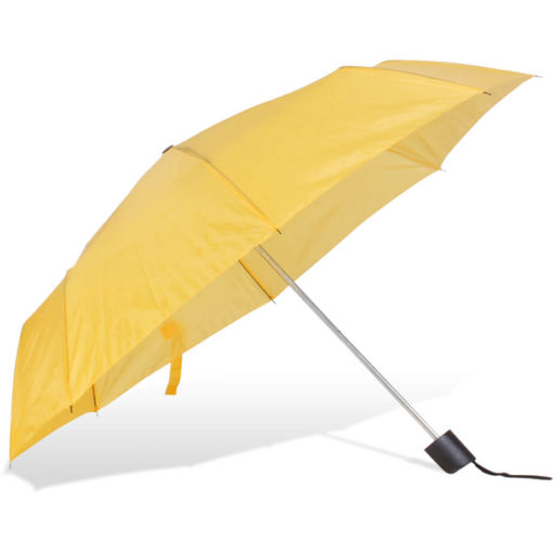 The ST-20 Mini Umbrella is a yellow polyester 8 panel umbrella with a plastic knob like handle and a wristband for a more secure hold