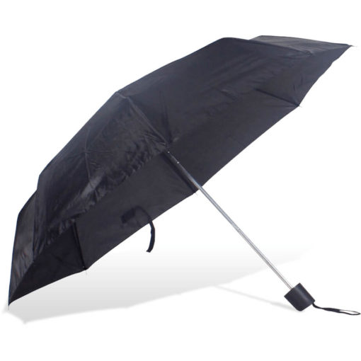 The ST-20 Mini Umbrella is a black polyester 8 panel umbrella with a plastic knob like handle and a wristband for a more secure hold