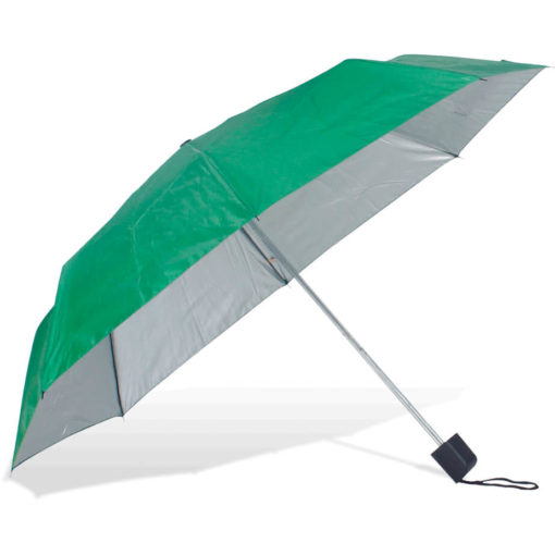 The ST-20 Mini Umbrella is an emerald green polyester 8 panel umbrella with additional UV coating on the panels for better protection from the sun, a plastic knob like handle and a wristband for a more secure hold