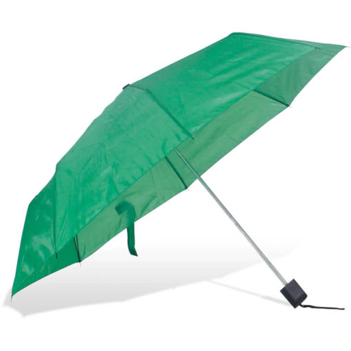 The ST-20 Mini Umbrella is a emerald green polyester 8 panel umbrella with a plastic knob like handle and a wristband for a more secure hold