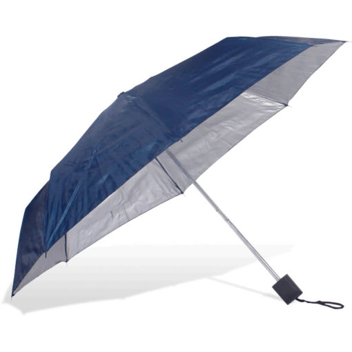 The ST-20 Mini Umbrella is a navy polyester 8 panel umbrella with additional UV coating on the panels for better protection from the sun, a plastic knob like handle and a wristband for a more secure hold