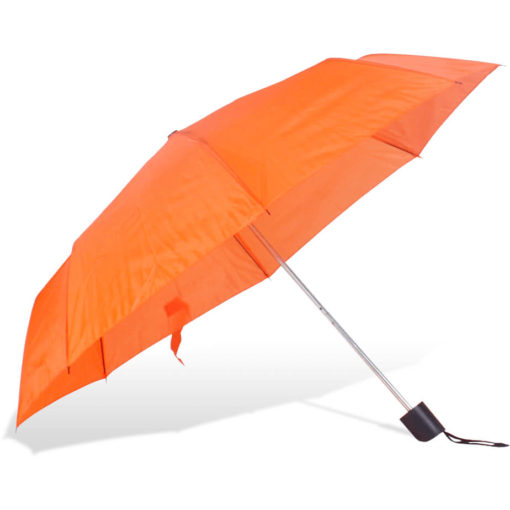 The ST-20 Mini Umbrella is an orange polyester 8 panel umbrella with a plastic knob like handle and a wristband for a more secure hold