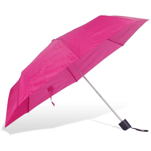 The ST-20 Mini Umbrella is a pink polyester 8 panel umbrella with a plastic knob like handle and a wristband for a more secure hold