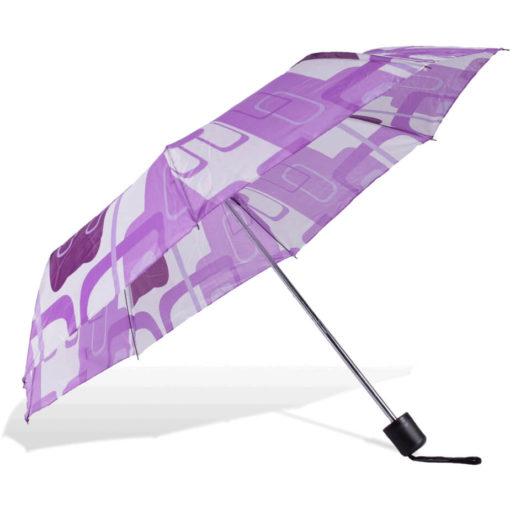 The ST-20 Mini Umbrella is a purple patterned polyester 8 panel umbrella with a plastic knob like handle and a wristband for a more secure hold