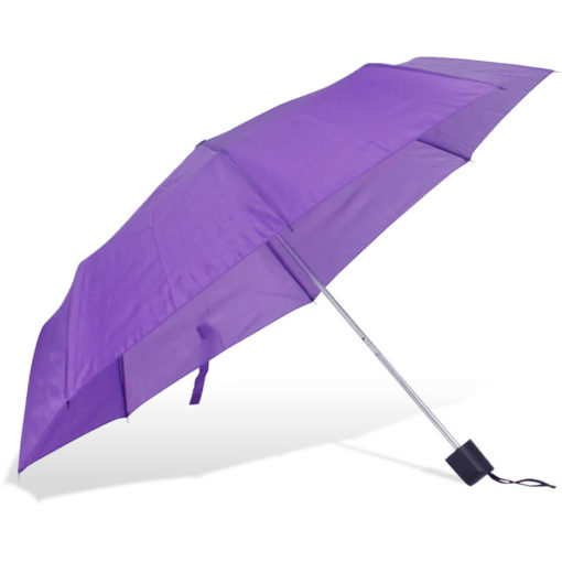 The ST-20 Mini Umbrella is a purple polyester 8 panel umbrella with a plastic knob like handle and a wristband for a more secure hold