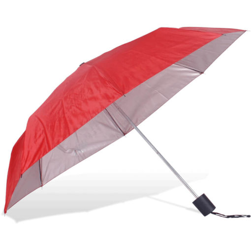 The ST-20 Mini Umbrella is a red polyester 8 panel umbrella with additional UV coating on the panels for better protection from the sun, a plastic knob like handle and a wristband for a more secure hold