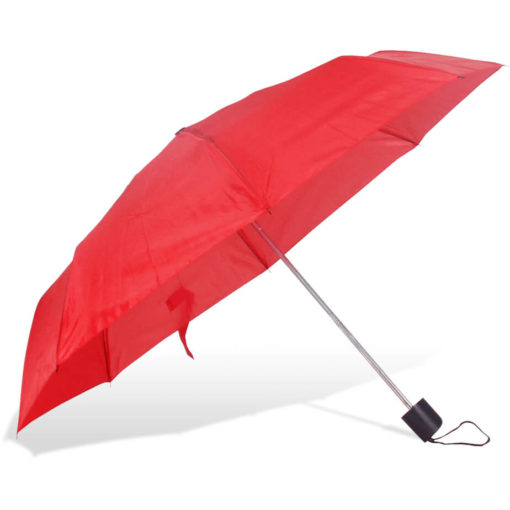 The ST-20 Mini Umbrella is a red polyester 8 panel umbrella with a plastic knob like handle and a wristband for a more secure hold