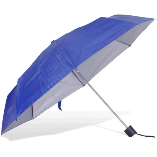 The ST-20 Mini Umbrella is a royal blue polyester 8 panel umbrella with additional UV coating on the panels for better protection from the sun, a plastic knob like handle and a wristband for a more secure hold